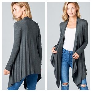 Rayon Blend Jersey Cascade Waterfall Cardigan